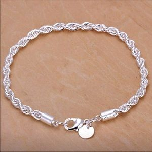 New Silver plated Twisted Rope Bracelet